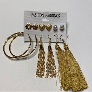 NWOT 6 Pair Gold Tassel Hoop Flower Earrings